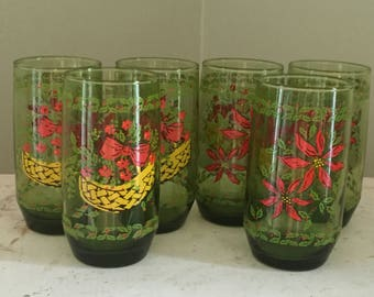 6 Vintage Tall Green Christmas Glasses Poinsettias Holly Berries Winter