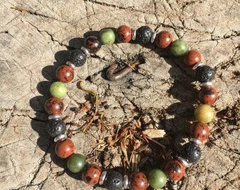 Mahogany Obsidian & Canadian Jade Men's Aromatherapy Bracelet