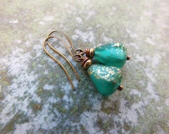Mint earrings/Mint&Gold Drop earrings/ Bridesmaids earrings/ Drop earrings /Boho Earrings/ Gift for girls