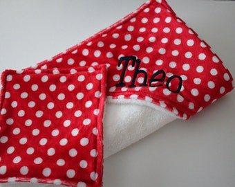 Baby, Infant Hooded Towel, Red and White Polka Dot with Black Minky Dot Hood -  Terrycloth, Minky with Coordinating Washcloth