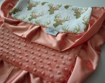 Glitzy Gold Deer and Floral Print with Peach Papaya Minky Dot LOVIE Blanket, Peach Satin - Girl, Crib Bedding, Antlers, Lodge, Floral Halo