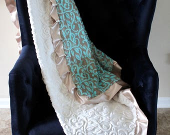 Adult Minky - Travel Blanket - Mar Bella Granada Marina in Aqua and Cocoa Minky and Finished with a Champagne Satin Trim