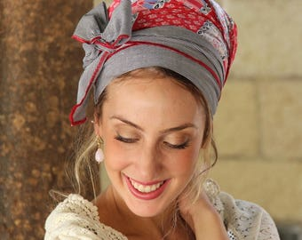 TieTie Pink/Striped Headscarf TICHEL, Hair Snood, Head Scarf, Head Covering, Jewish Headcovering, Scarf, Bandana, Apron