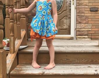 Handmade Peekaboo Dress tigger inspired newborn- girls 8