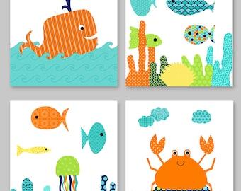 Nautical Nursery Art, Fish Nursery Decor, Crab, Whale, Colorful Nursery, Boy Room Decor, Gender Neutral, Fish Canvas Prints, Ocean Nursery