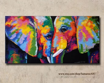 48 x 98 cm, Colorful Elephant Painting wall decor on canvas