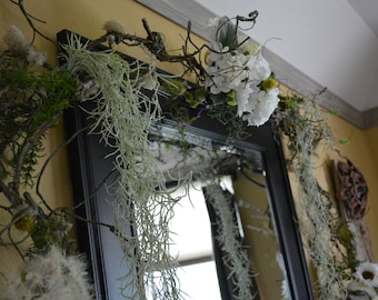 Wedding Arbor Garland With White Flower Bouquets.