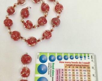 Pink Black Red Venetian Murano Glass Beads
