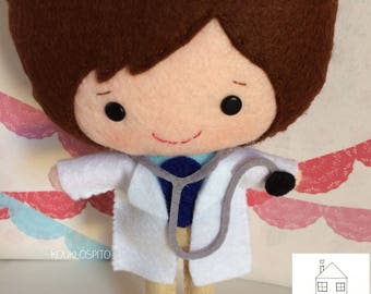 Felt Doctor Plush Doll Personalized