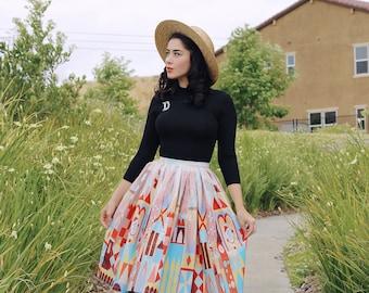 Small World inspired, Border Print Full Skirt