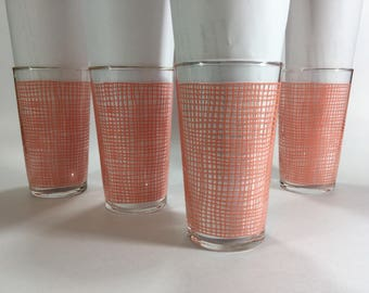 1950s Federal Glass pink drinking glasses