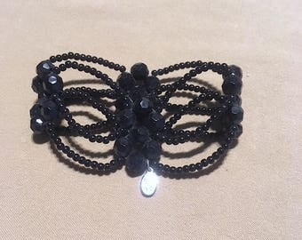 "Vintage Beaded ""Cookie Lee"" Stretch  Bracelet, 1990's Retired ""Cookie Lee"" Intricate Bead Woven Flower Stretch Bracelet Black Beaded Jewelry"