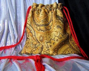 11 x 11 Tapestry Brocade Drawstring Bag Red Satin Lining Red Cords