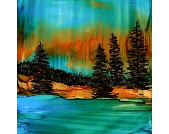 Print. Alcohol Ink. Alcohol Ink Art.  Alcohol Ink Print. Art Print. Wall Art. Landscape. Soulful ForestII.