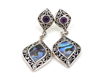 Sterling Silver Dangle Earrings with Abalone and Amethyst