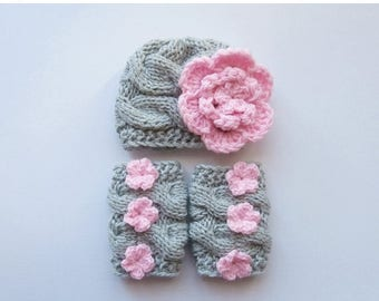 ON SALE 35% SALE Baby Girl Hat and Leg Warmers-Newborn Baby Girl -Photography Photo Prop Set -Newborn Girl Leg Warmers and Hat