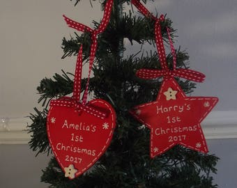 Personalised Baby's 1st First Christmas Tree Decoration Wooden Heart or Star
