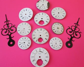 Lot 5  - 10 Assorted Antique and Vintage Ceramic Pocket Watch Dials for your Watch Projects - Jewelry Making - Steampunk Art