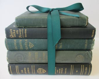 Dark Green Collection of Vintage and Antique Books. Perfect for the Adventurous Reader or Accomplished Decorator.