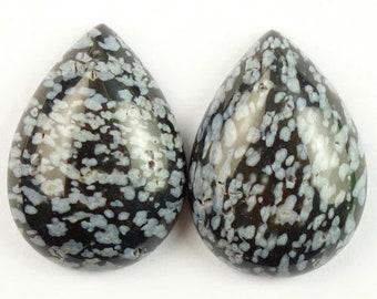 25mm PAIR /Natural /Snowflake Obsidian/   Teardrop 25mm Gemstone Cabochon Pair