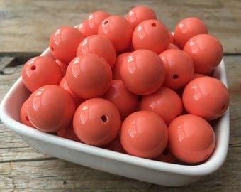 20mm Orange Coral Solid Chunky Bead, Summer Bubblegum Bead, Acrylic Bead, DIY Chunky Necklace, 10 Count