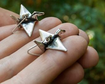 Origami earrings. Silver origami crane earrings. Electroformed paper crane earrings. Japanese origami bird earrings. Silver bird earrings