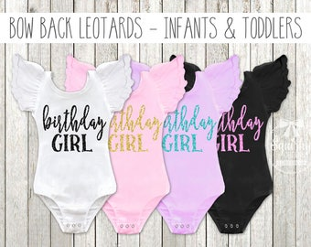 Birthday Girl Leotard First Birthday Outfit Girl 1st Birthday Outfit Girl Design Your Own Flutter Sleeve Bow Back Baby Toddler Leotards