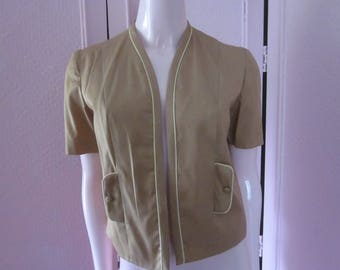 """1950s Tan Cotton Short-Sleeved Jacket by """"Judy Wayne,"""" Size S"""