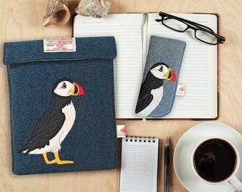 Puffin ipad case - blue - Harris Tweed case - tablet case- iPad sleeve - puffin - Scottish gift