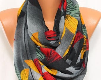 Lotus Flower Scarf Floral Gray Scarf Infinity Scarf Holidays Accessory Women Fashion Accessories Women Scarves Holiday Gift Ideas For Her