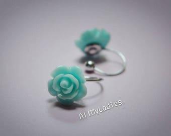 Earrings CLIPS U flowers blue Mint, resin