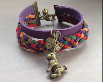 Purple lace bracelet flat suede with little bronze rabbit and Bell
