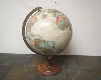 REPLOGLE WORLD CLASSIC Series 12 Inch Diameter Globe * , Raised topography, world globe*,  Wood base and metal arm