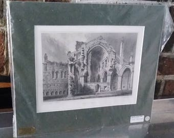 Vintage Print Melrose Abbey Roxburghshire Scotland Steel Engraving 1896