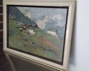 Large Vintage Alps ? Mountains Houses Landscape Print