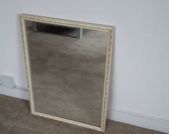 Large Vintage Painted Shabby Chic Mirror Cream and Gilt.