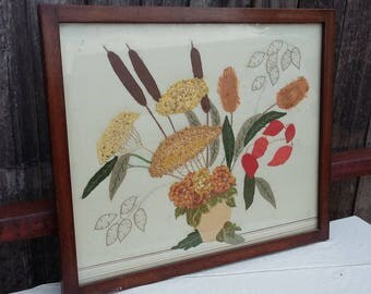 Vintage Collage Embroidery Flowers Plants in Vase