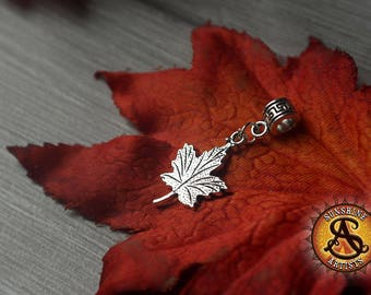 Maple Leaf charm, autumn Leaf, double sided dread charm, dreadlock bead, dread accessories, necklace pendant, nature lover, leaves, boho
