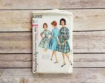 Garden Party Dress Full Skirt Simplicity 5232 One Piece Dress Size 10 Sewing Pattern 60s Retro Fashion Size 10 Teen Dress Tween Clothing