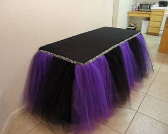 Block Color Tulle Tutu Table Skirt Custom Wonderland Tulle Table Skirting Wedding Birthday Baby Shower Party Decoration