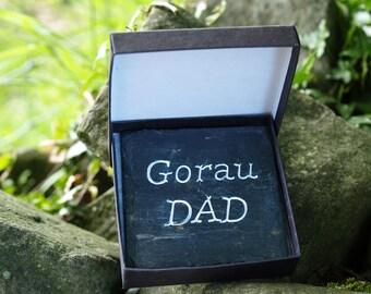 Father's Day Slate Coasters Welsh Dad / Tadcu