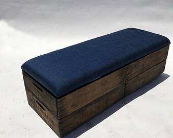 Upholstered Crate Storage Bench - Classic Denim