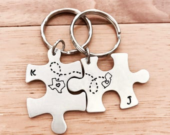 CUSTOM Long Distance Love KEYCHAINS Puzzle Pieces Best Friend Gift- Set of Two