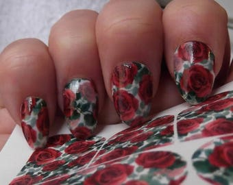 25 % OFF RED ROSES Nail Art Decals (Rrf) - Full Nail Wrap Decoration Long and Short Nails - Waterslide Decals -Not Sticke