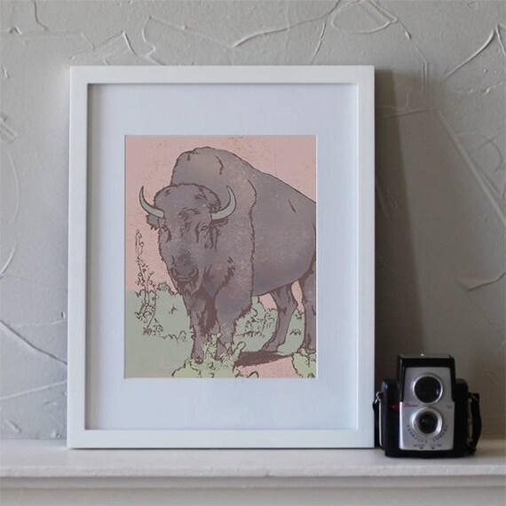 Buffalo Guide Art Print, Buffalo Art, Home Decor, Bison