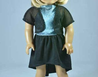 American Girl or 18 Inch Doll High Low  SKIRT in Black with Blue Satin Polka Dot HALTER Shirt Top and Lacy Black JACKET