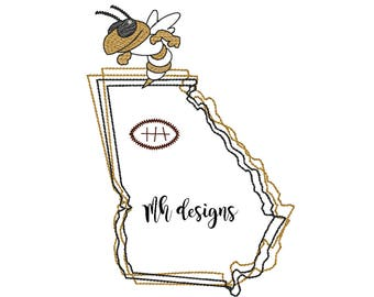State of Georgia with Yellow Jacket and Football embroidery design, Vintage stitch yellow jacket, Georgia embroidery file, Bean stitch bee