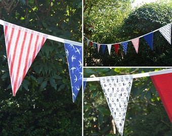 Handmade Fabric Bunting Red/White/Blue Anchors/Boats/Stripes & Plain Nautical Coastal Design 15 Double-Sided Large Flags for Home and more!