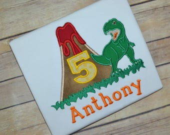 Boy dinosaur birthday shirt, volcano birthday shirt, trex birthday shirt, toddler birthday outfit, boy birthday shirt, tyrannosaurus rex