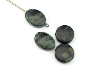 4 Kambaba jasper beads coin shape ,10mm x 14mm and 12mm #PP 083